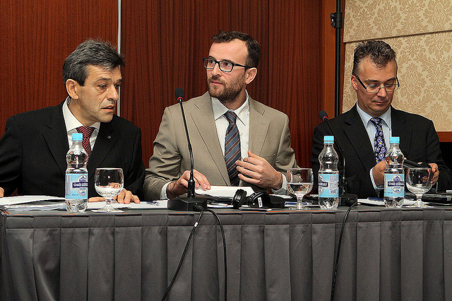 Valentin Schlikhta (Head of the Unit of GHG Emissions Cadaster at the State Environmental Investment Agency of Ukraine) Jean-Francois Moret (Sector Manager Energy, Environment, Green Economy, Civil Protection EU Delegation to Ukraine) Zsolt Lengyel (Team Leader and Key Expert on Climate Change)